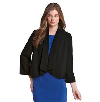Kasper® Black Crepe Draped Open Front Jacket