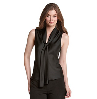 Kasper® Black Charmeuse Tie-Front Sleeveless Blouse