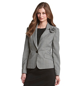 Kasper® Black and White Glen Plaid Peak Collar Jacket with Removable Corsage