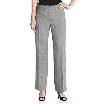 Kasper® Black and White Glen Plaid Pants