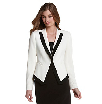 Nine West® Pearl and Black Crepe One-Button Framed Tuxedo Jacket