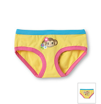 St. Eve® Intimates Girls' 6-16 Yellow Cotton Panties with Monkey Print