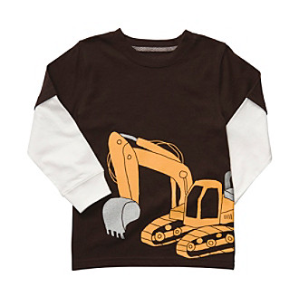 Carter's® Boys' 2T-7 Brown Long-sleeve Digger Tee