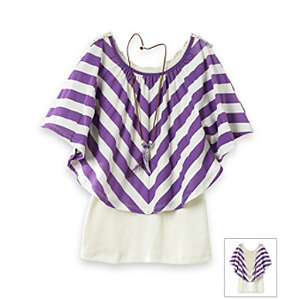 Beautees Girls' 7-16 Striped Crochet Popover Top