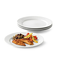 LivingQuarters Whiteware Round Set of 4 Dinner Plates