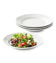 LivingQuarters Whiteware Round Set of 4 Salad Plates