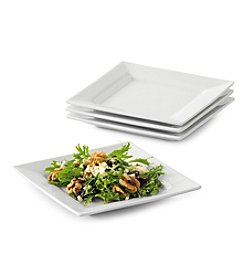 LivingQuarters Whiteware Square Set of 4 Salad Plates