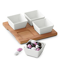 LivingQuarters Whiteware Set of 4 Square Bowls with Tray