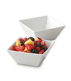 LivingQuarters Whiteware Square Set of 2 Cereal Bowls