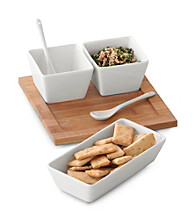 LivingQuarters Whiteware Set of 3 Bowls with Tray