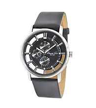 Kenneth Cole New York® Men's Round Transparent Multifunction Dial Watch with Black Strap