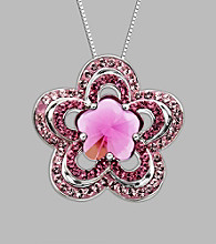 Impressions® Sterling Silver Flower Pendant with Swarovski® Elements