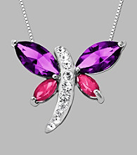 Impressions® Sterling Silver Dragonfly Pendant Made w/Swarovski Elements