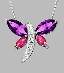 Impressions® Sterling Silver Dragonfly Pendant made with Swarovski® Elements
