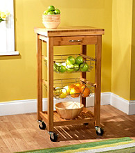 Target Marketing Systems Natural Bamboo Kitchen Trolley