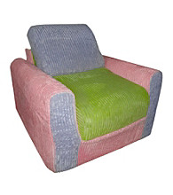 Fun Furnishings Pink, Lilac & Green Chenille Chair Sleeper