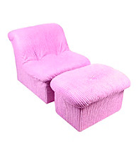 Fun Furnishings Pink Chenille Cloud Chair & Ottoman