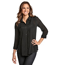 Fever™ Pleated Button-Front Chiffon Shirt