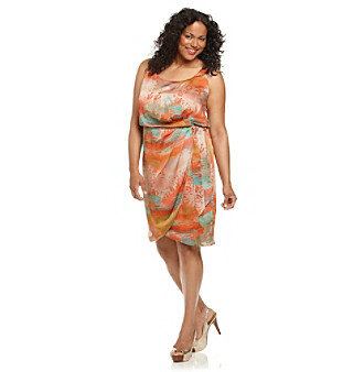 Jessica Simpson Plus Size Apricot Wash Printed Dress