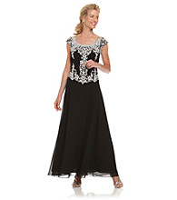 J Kara® Black and Silver Long Beaded Dress
