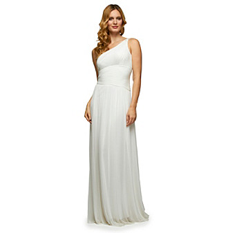 Alex Evenings® One-Shoulder Beaded, Shirred Wedding Style Dress