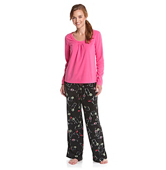 HUE® Microfleece Pajama Set - Puttin' On The Spritz Raspberry