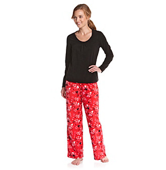 HUE® Microfleece Pajama Set - Heart Attack Black