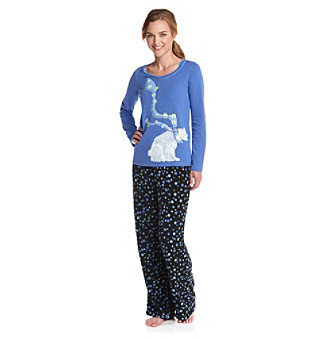 HUE® Fleece Pajama Set - Polar Bear Amparo Blue