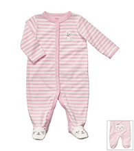 Carter's® Baby Girls' Pink/White Striped Terry Kitty Sleep and Play