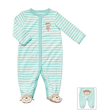 Carter's® Baby Girls' Turquoise/Ivory Striped Terry Monkey Sleep and Play