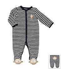 Carter's® Baby Boys' Navy/White Striped Terry Monkey Sleep and Play