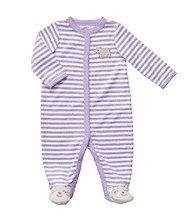 Carter's® Baby Girls' Lilac/White Striped Terry Bear Sleep and Play