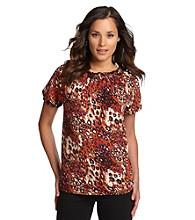 Notations® Edwin Orange Allover Print Peasant Top