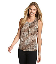 Notations® Black and Tan Animal Print Pleatneck Top