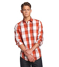 John Bartlett Consensus Men's Classic White Plaid Buttondown Shirt