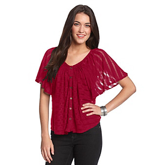 Willow & Clay Saffron Burnout Button-Up Top