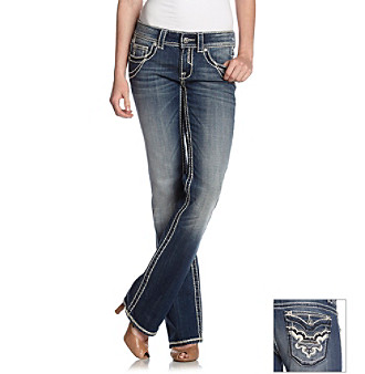 Studio 5® Dark Wash Bootcut Jean with Diamond Pocket