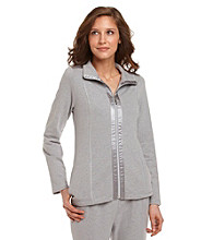 Laura Ashley® Petites' Zip-Front Jacket with Satin Trim