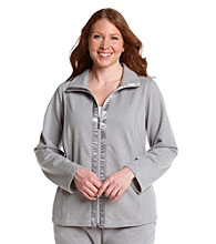 Laura Ashley® Plus Size Zip-Front Jacket with Satin Trim