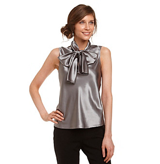 Nine West® Platinum Tie-Neck Charmeuse Blouse