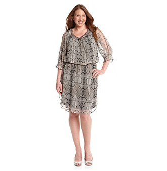 Jessica Simpson Plus Size Snake-Print Cold-Shoulder Dress