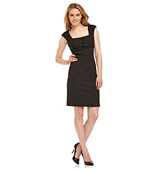 Calvin Klein Square-Neck Pleated Front Ponte Sheath Dress