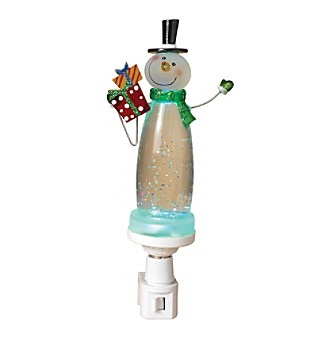 Gerson Black Hat Glitter Snowman Nightlight