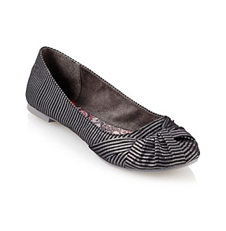 "Rocket Dog® ""Messenger"" Round-toe Flats - Black Stripe"