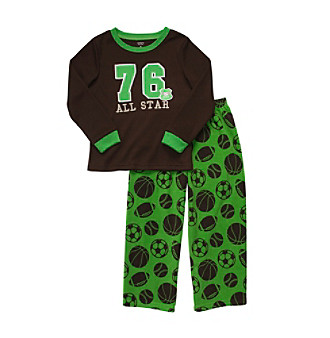 Carter's® Boys' 4-12 Brown All-Star 2-pc. Fleece Pajama Set