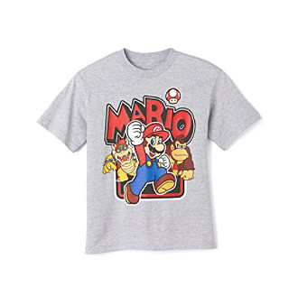 Nintendo® Super Mario Bros. Boys' 8-20 Grey Short Sleeve Mario Tee