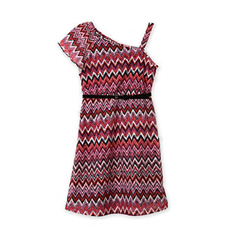 Amy Byer Girls' 7-16 Purple Zig-zag One-shoulder Dress