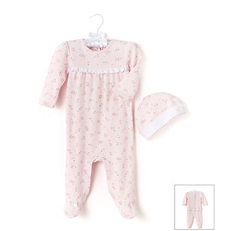 Cuddle Bear® Baby Girls' Pink Floral Print Footie with Cap