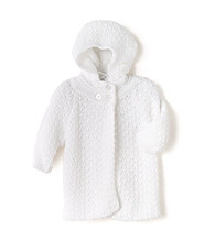 Cuddle Bear® Baby Girls' White Sweater Caplet