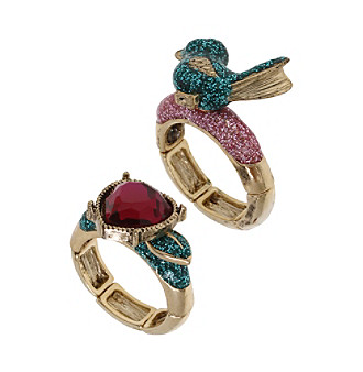 "Betsey Johnson® ""Flights Of Fancy"" Bird And Heart Stretch Ring Set"